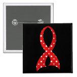 Polka Dot Red Ribbon AIDS HIV Buttons