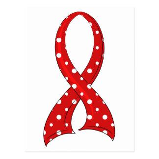 Polka Dot Red Ribbon AIDS HIV Postcard