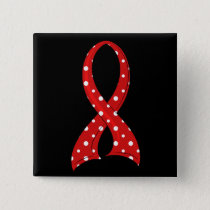 Polka Dot Red Ribbon Blood Cancer Pinback Button