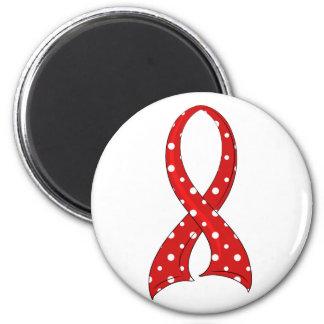 Polka Dot Red Ribbon Stroke 2 Inch Round Magnet