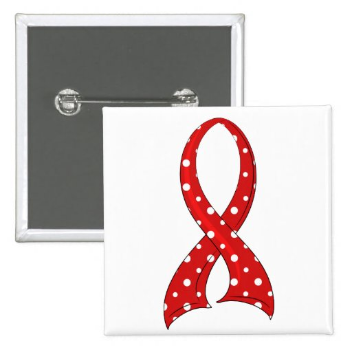 Polka Dot Red Ribbon Stroke Pinback Buttons