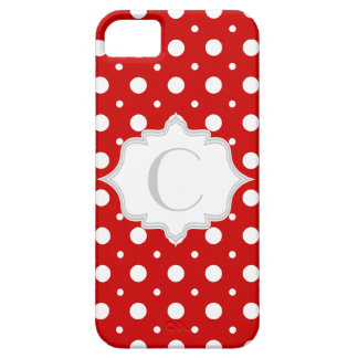 Polka dot red, white, grey monogram girly iPhone SE/5/5s case