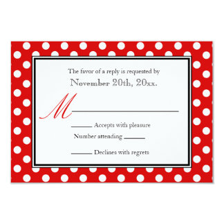 Polka Dot Red & White RSVP Reply Cards