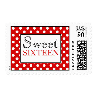Polka Dot Red & White Sweet Sixteen Postage