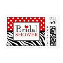 Polka Dot Red Zebra Print Bridal Shower Postage