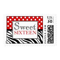 Polka Dot Red & Zebra Print Sweet Sixteen Postage