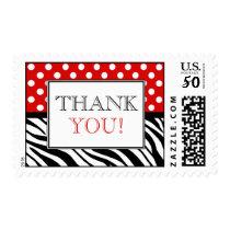 Polka Dot Red & Zebra Print Thank You Postage