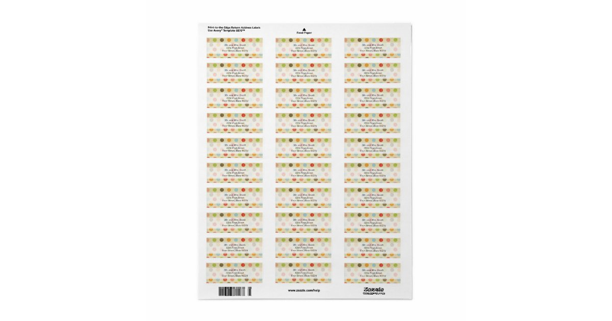This is a graphic of Irresistible Polka Dot Mailing Labels