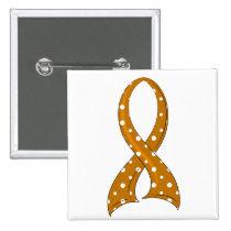Polka Dot Ribbon Appendix Cancer Pinback Button