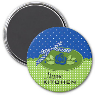 Polka Dot Roses Magnet, Blue 3 Inch Round Magnet