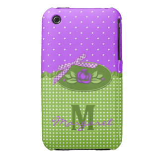 Polka Dot Roses Purple Monogram- iPhone 3g Case iPhone 3 Cover