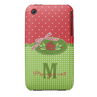 Polka Dot Roses Red Monogram- iPhone 3g/3gs Case