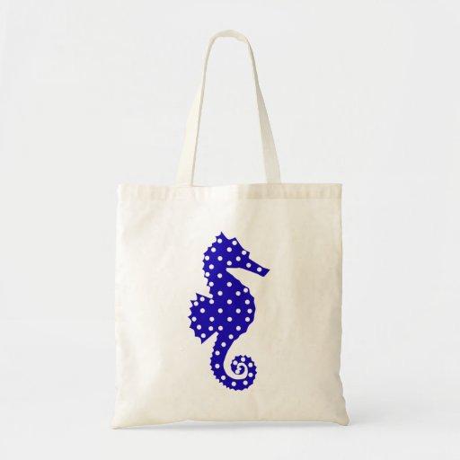 Polka Dot Seahorse Tote Bag