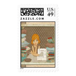 Polka Dot Seamstress Postage Stamps