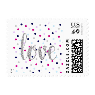 Polka dot & silver glitter love stamps