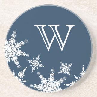 Polka Dot Snowflake Monogram Coaster