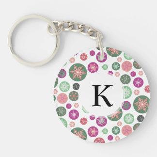 Polka Dot Snowflakes Retro Christmas Holiday Double-Sided Round Acrylic Keychain
