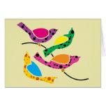 Polka Dot Song Birds - Abstract Pop Art Card