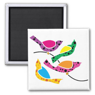 Polka Dot Song Birds - Abstract Pop Art 2 Inch Square Magnet