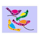 Polka Dot Song Birds - Abstract Pop Art Postcard
