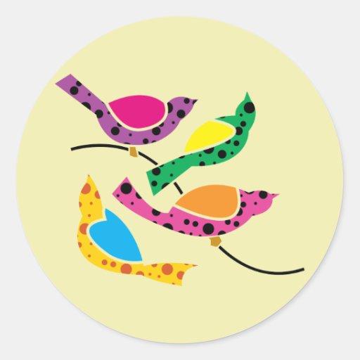 Polka Dot Song Birds - Abstract Pop Art Stickers