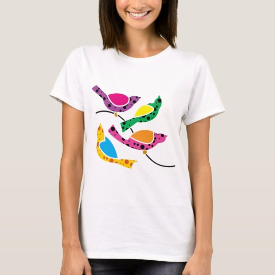Polka Dot Song Birds - Abstract Pop Art T-Shirt