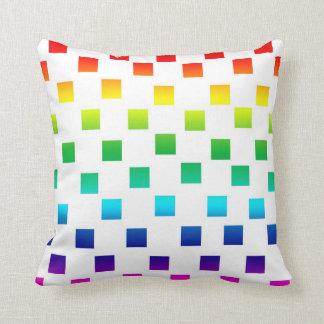 Polka Dot Squares in Rainbow on White Throw Pillow