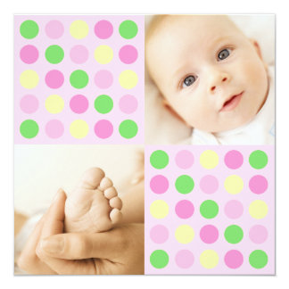 Polka Dot Squares Pink Card