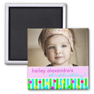 Polka Dot Stripe Birthday Photo Magnet