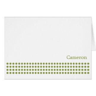 Polka Dot Stripe Blank Note Card-pear green Card