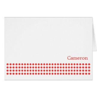 Polka Dot Stripe Blank Note Card-tangerine Card