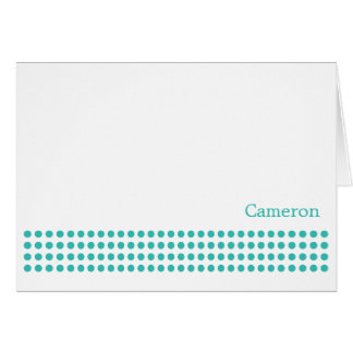 Polka Dot Stripe Blank Note Card-turquoise Stationery Note Card