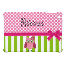 Polka Dot Striped Mini iPad Case with Cute Owl