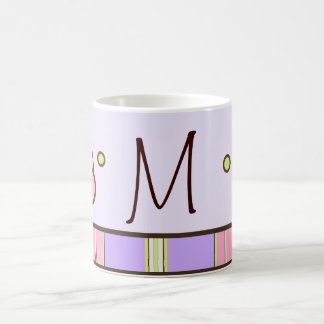 Polka Dot & Stripes Purple Monogram Mug