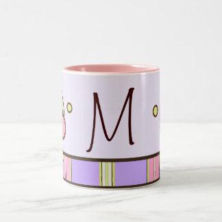 Polka dot & Stripes Purple Monogram Mug