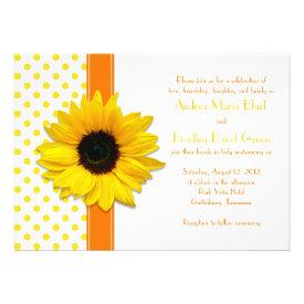 Polka Dot Sunflower Wedding Invitation