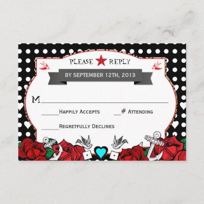 Polka Dot Tattoo Rockabilly Wedding Rsvp Card