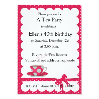 Polka Dot Tea Party Invitation