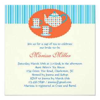 Polka Dot Tea Pot Bridal Shower Invitation