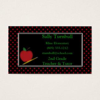 Polka Dot Teacher & Apple Business Card