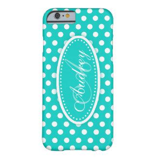 Polka dot teal aqua name iphone case
