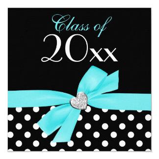 Polka Dot Teal Blue Bow Heart Graduation Party Card