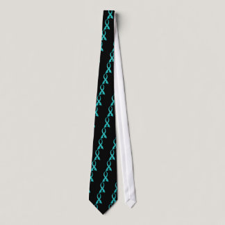 Polka Dot Teal Ribbon Ovarian Cancer Tie