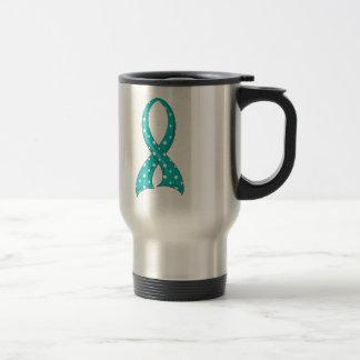 Polka Dot Teal Ribbon PCOS 15 Oz Stainless Steel Travel Mug