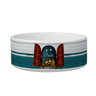 Polka Dot Teal with Doggy in the Window - DIY Name Bowl