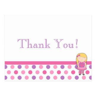 Polka Dot Thank You Card Postcard in Pink & Purple