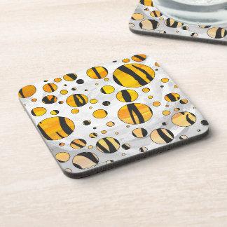 Polka Dot Tiger Black and Orange Print Beverage Coaster