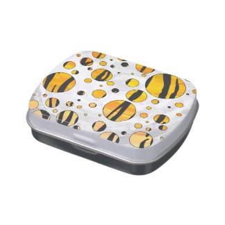 Polka Dot Tiger Black and Orange Print Jelly Belly Candy Tin