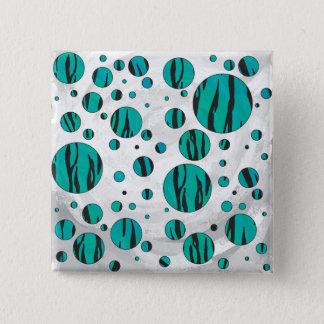 Polka Dot Tiger Black and Teal Print Button