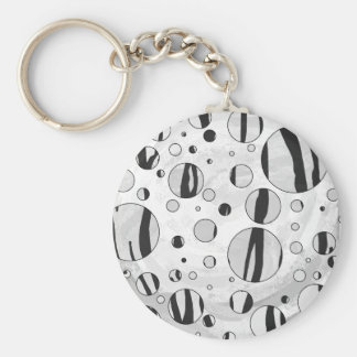 Polka Dot Tiger Black and White Print Keychain